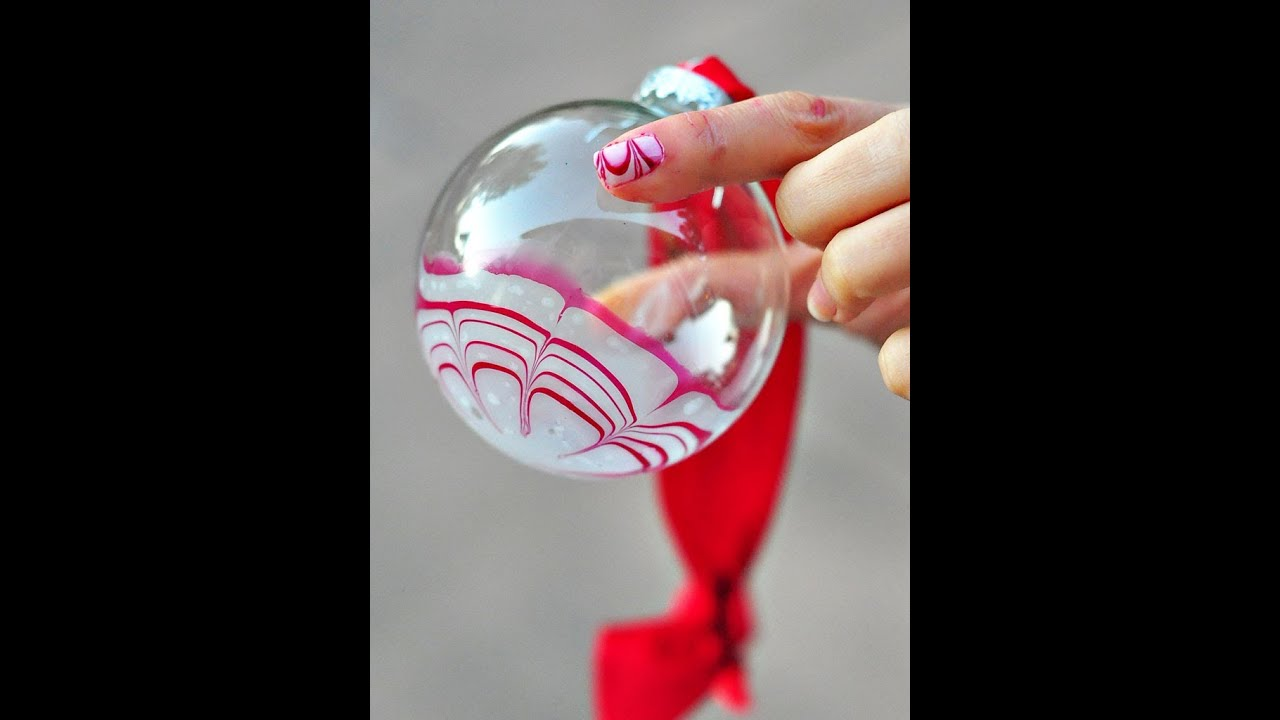 water marble candy cane glass ornament