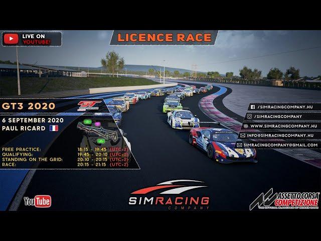 Sim Racing Company - GT3 2020 Licence Race: Paul Ricard
