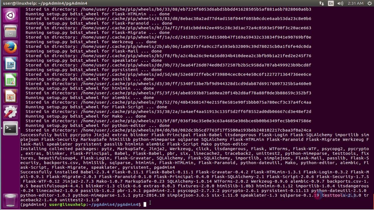How to install PgAdmin4 on Ubuntu 16 04