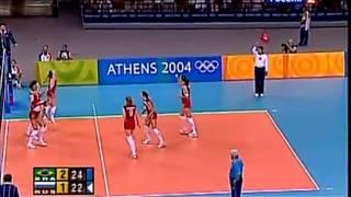 Волейбол. Афины-2004. Россия - Бразилия. Женшины.(Тот самый полуфинал, в Афинах 2004, Олимпийские игры , когда мы проигрываем 1:2, и в партии 19:24, и выйгрываем..., 2012-11-26T12:54:13.000Z)