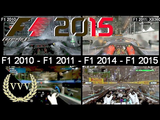 F1 2010 Vs F1 2011 Vs F1 2014 Vs F1 2015 Sinagpore Wet Weather