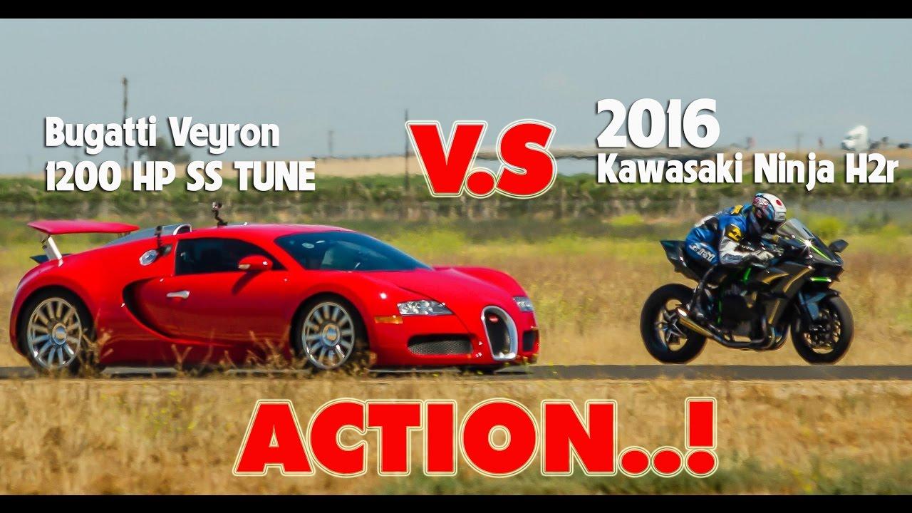 racing kawasaki ninja h2r vs bugatti veyron | lamborghini
