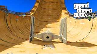 GTA 5 PC Mods - STAR WARS STUNTS w/ X-Wing, Speeder Bike, & Tie Fighter! GTA 5 Mod Funny Moments!