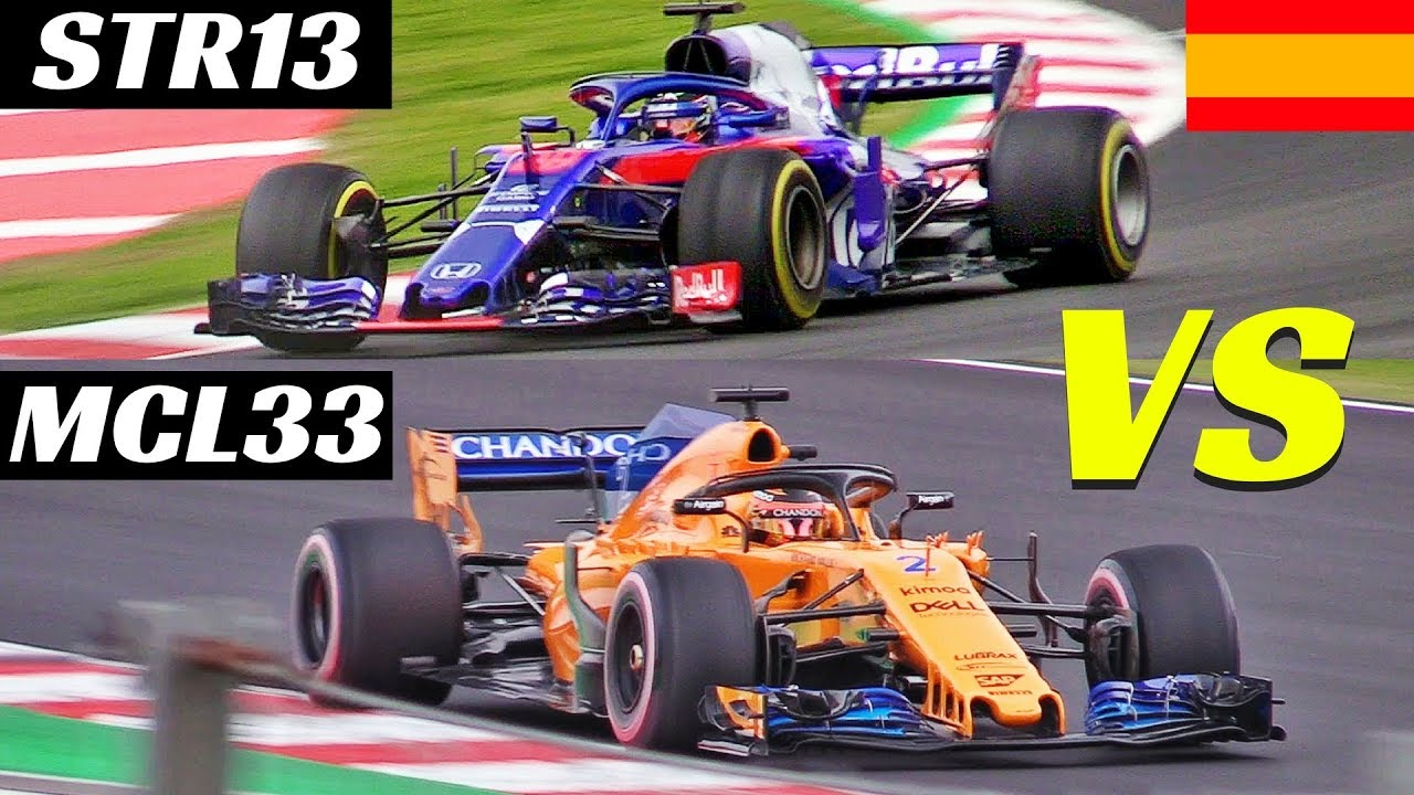 2018 toro rosso str13 vs mclaren mcl33 comparison on track formula 1 pre season test spain. Black Bedroom Furniture Sets. Home Design Ideas