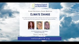 Climate Change Student Panel: Iris O'Donnell Bellisario, Jake Hawes, and Allison Masterson