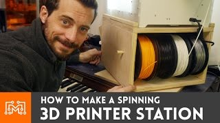 Spinning 3D Printer Workstation  // How-To(Turning the 3d printer to change the filament is kind of a pain, so I made a way to spin it, and store filament and tools! Subscribe to my channel: ..., 2016-01-21T15:48:42.000Z)
