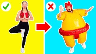 THE GYMNASTICS CHALLENGE IN GIANT SUMO SUITS || Funny gymnastics by 123 GO! Challenge