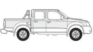 How to Draw a Nissan Navara Pick-up / Как нарисовать Nissan Navara Pick-up
