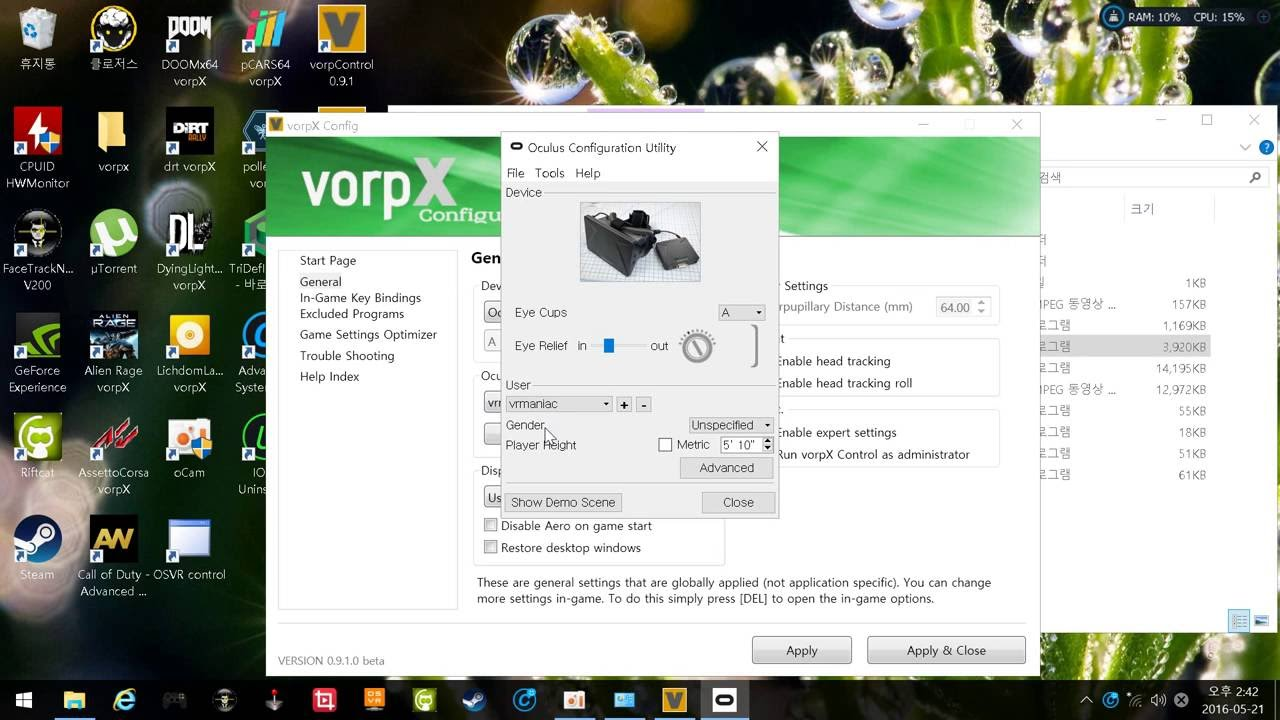 How to setup vorpx without oculus rift and htc vive