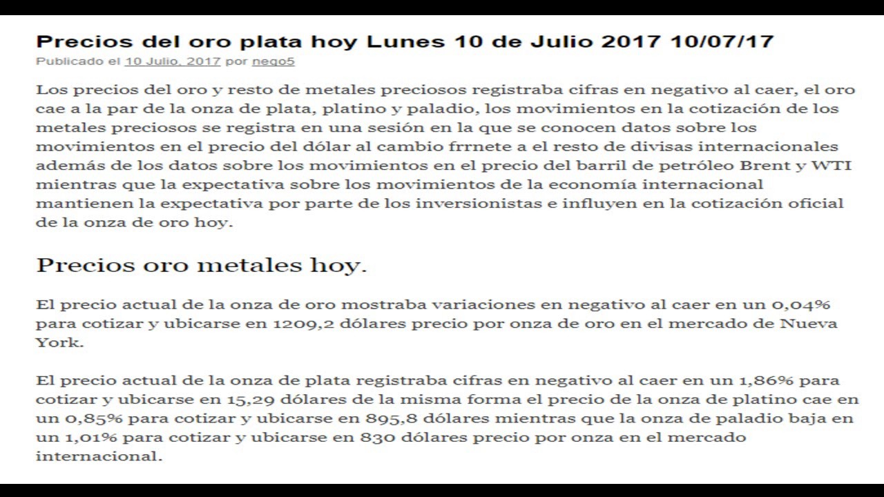 Precio Oficial Del Oro Plata Hoy Lunes 10 De Julio 2017 07 17