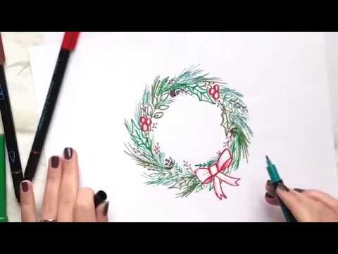 Christmas Wreath Drawing.Step By Step How To Draw A Holiday Wreath