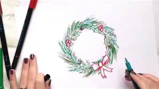 Step by Step: How to draw a holiday wreath