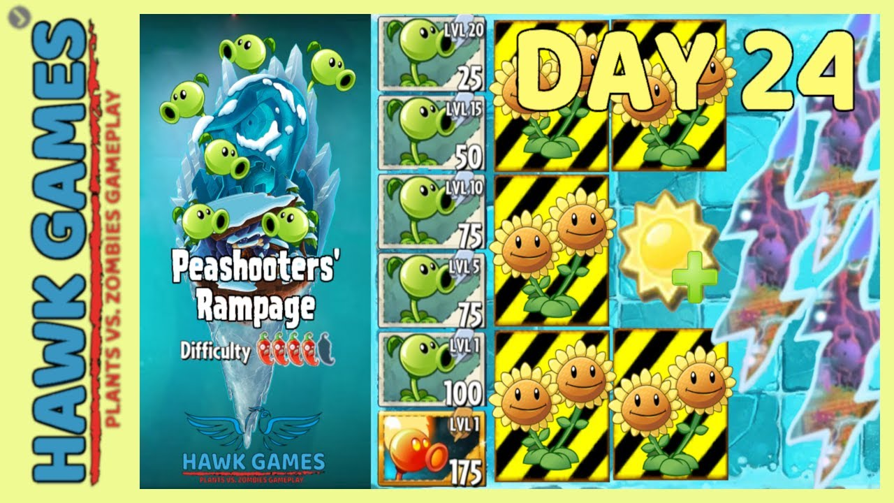 Plants vs Zombies 2 Peashooters' Rampage Frostbite Caves 24 [Protect Plants]