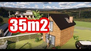 Dom szkieletowy 35m2 z poddaszem, dom 35m2 projekt