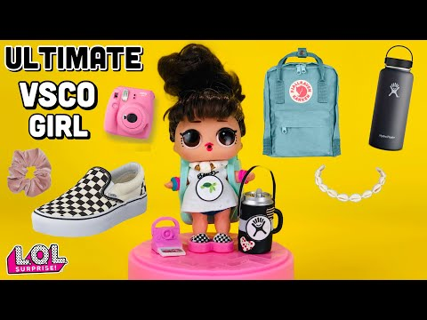 DIY - LOL Doll becomes the ULTIMATE VSCO GIRL 4 BACK to SCHOOL. Hydro Flask | FJALLRAVEN Backpack