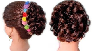 Beautiful hairstyle for short & long hair 2019.bun hairstyle for wedding and party.latest hairstyle