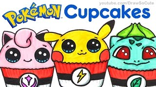 Art CHALLENGE- How to Draw + Color Pokemon as CUPCAKES -Pikachu Bulbasaur Jigglypuff