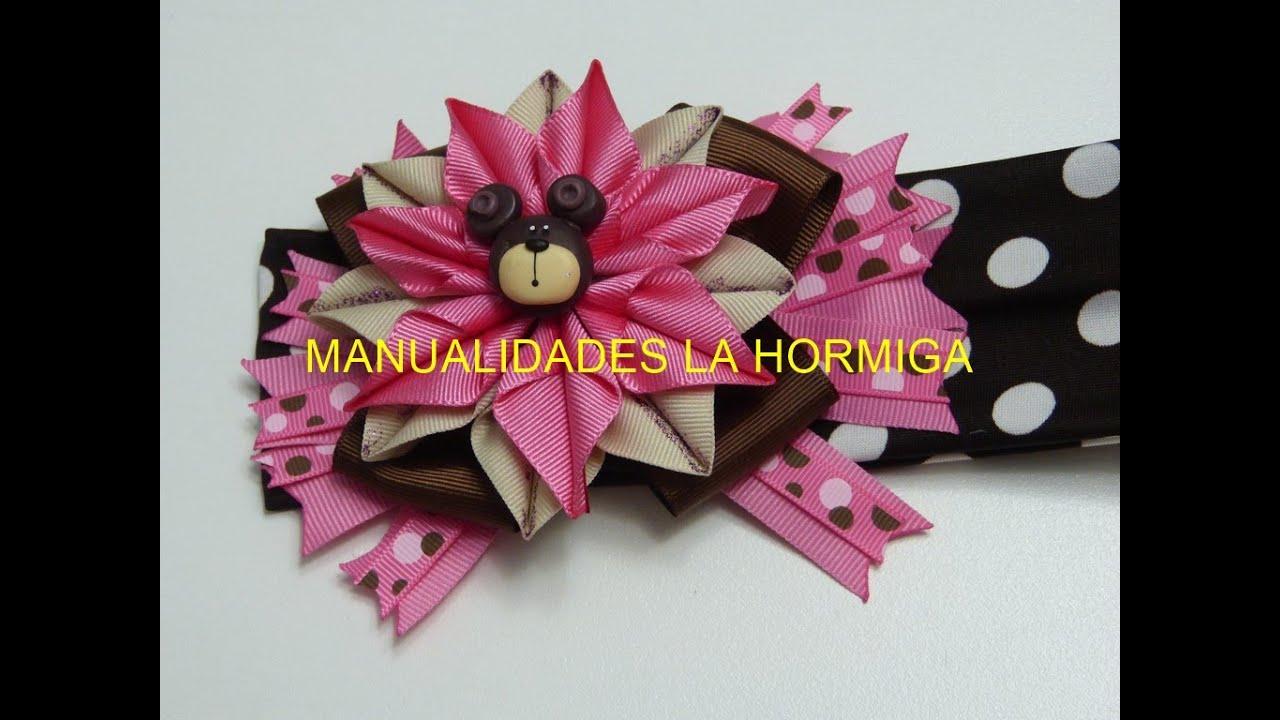Como hacer flor puntas con cinta lindo mo os cabello - Como hacer monos ...