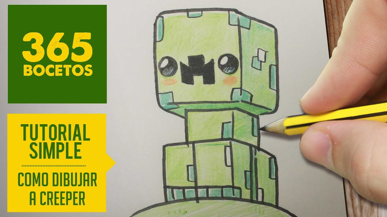 Como Dibujar Un Creeper Kawaii De Minecraft Paso A Paso Kawaii Facil How To Draw A Creeper