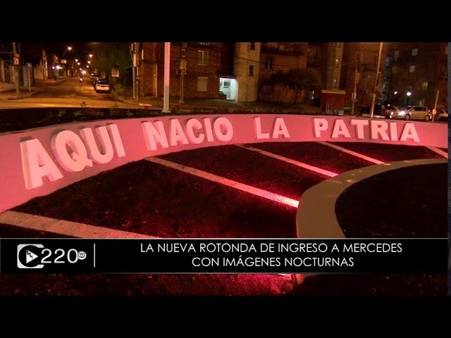 Las imágenes nocturnas de la nueva rotonda de acceso a Mercedes