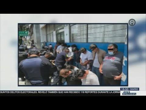 Detienen a 15 presuntos responsables del destrozo de una casilla en Metepec, Edomex