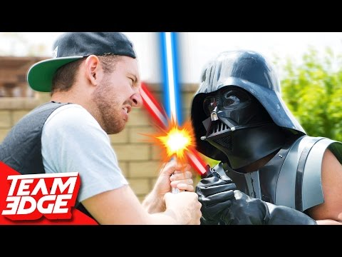 Star Wars Hoverboard Lightsaber Battle!