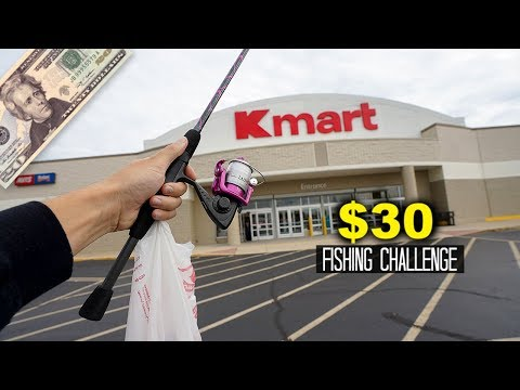 $30 Kmart Fishing Challenge!! (World's LAST Kmart)