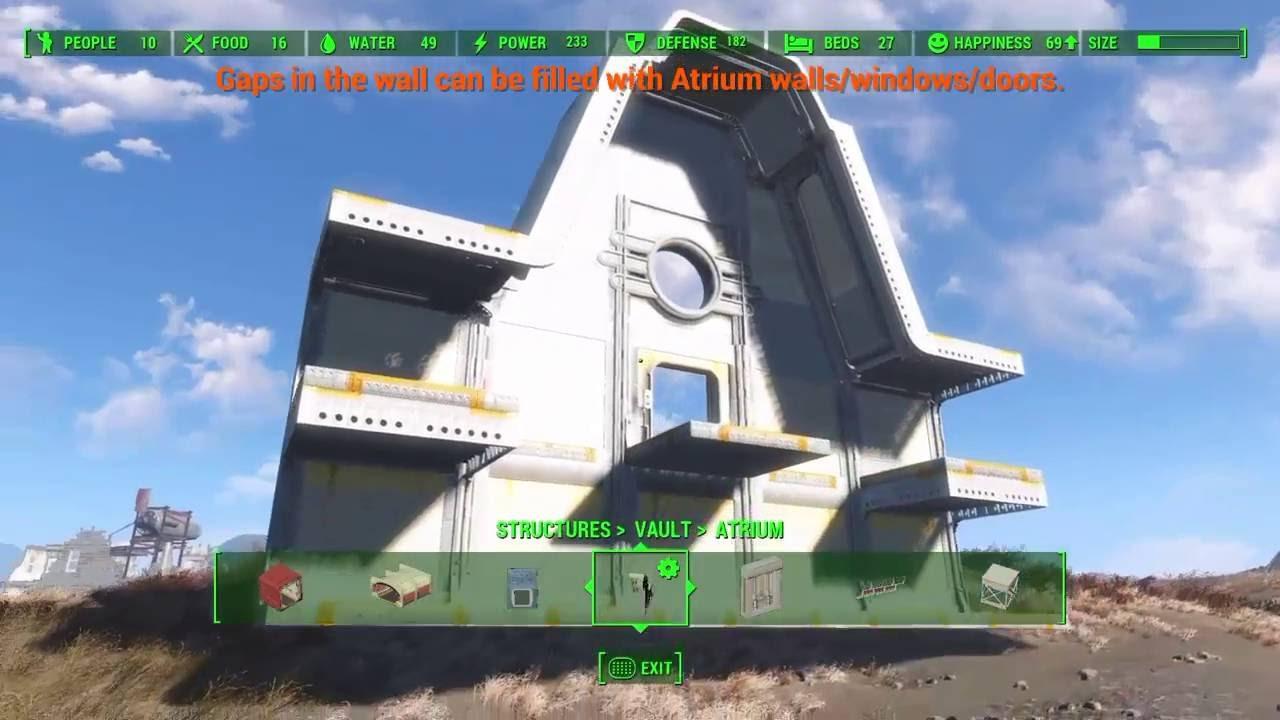Fallout 4 Vault Tec Workshop Dlc Ps4 Vault Building Basic Tutorial Atrium And Overseers Room