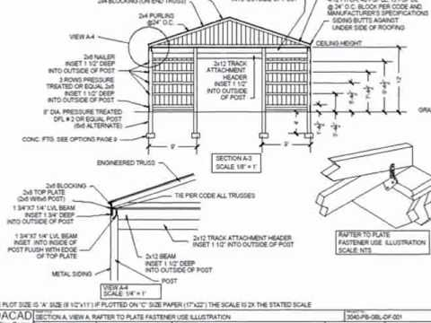 30 39 x 40 39 pole barn plan youtube for Pole barn blueprints free