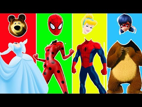 Wrong Heads Spiderman Masha Bears LadyBug Cinderella Finger Family Song Learn Colors for Kids