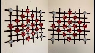 DIY: Diamond Shaped Flowers Wall Hanging Decor out of Upcycled Items