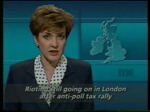 ITN Newsflash 'London poll tax riots' 31/03/1990