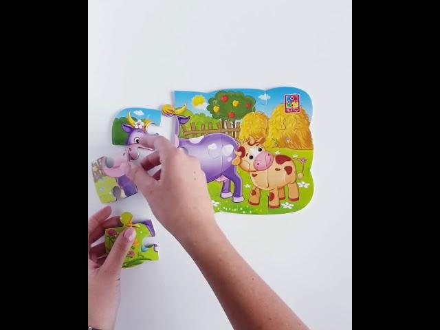 Vladi Toys VT3205-55 Пазлы на магните Мои первые игры Коровка