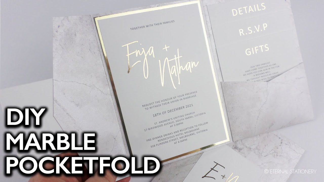 Gold Foiled Wedding Invitation with Marble Pocketfold | DIY Wedding Invitations | How to gold foil