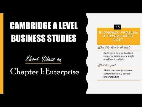 CAMBRIDGE BUSINESS STUDIES AS & A LEVEL: Enterprise  - Economic Problem and Opportunity Cost