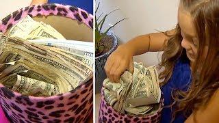 Милая девочка пришла домой с сумкой денег, это было её желание на день рождения
