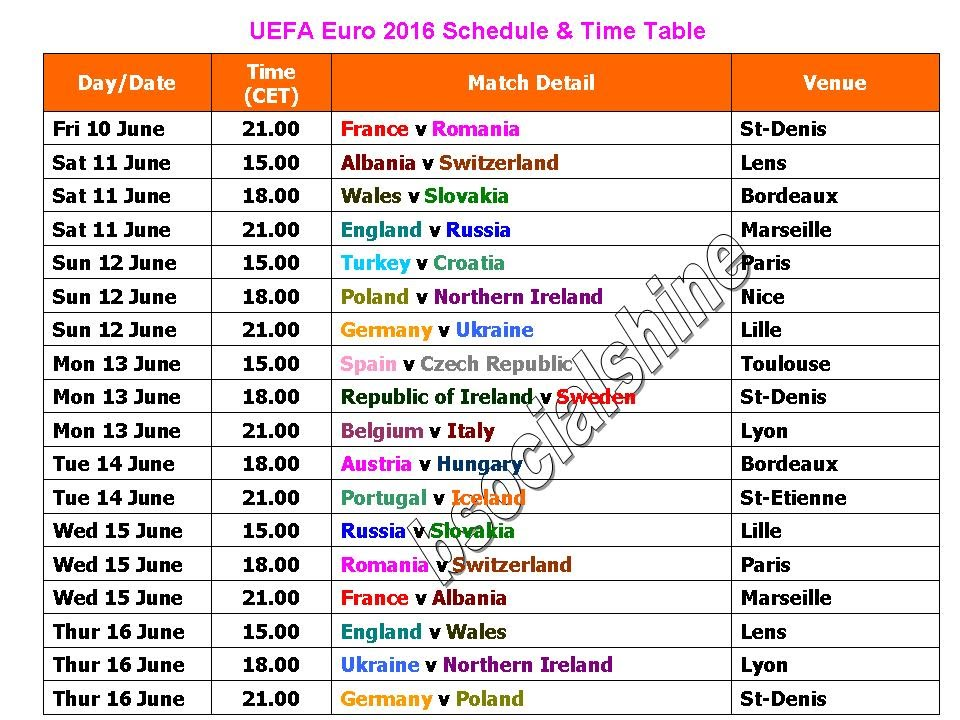 Uefa euro 2016 schedule time table youtube - European football tables latest ...