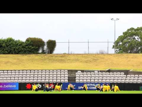 Ang Postecoglou takes his first training session as Australia coach