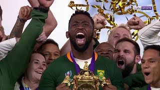 Historic moment for South Africa first black captain Kolisi as he lifts the Cup | RWC 2019 Moments