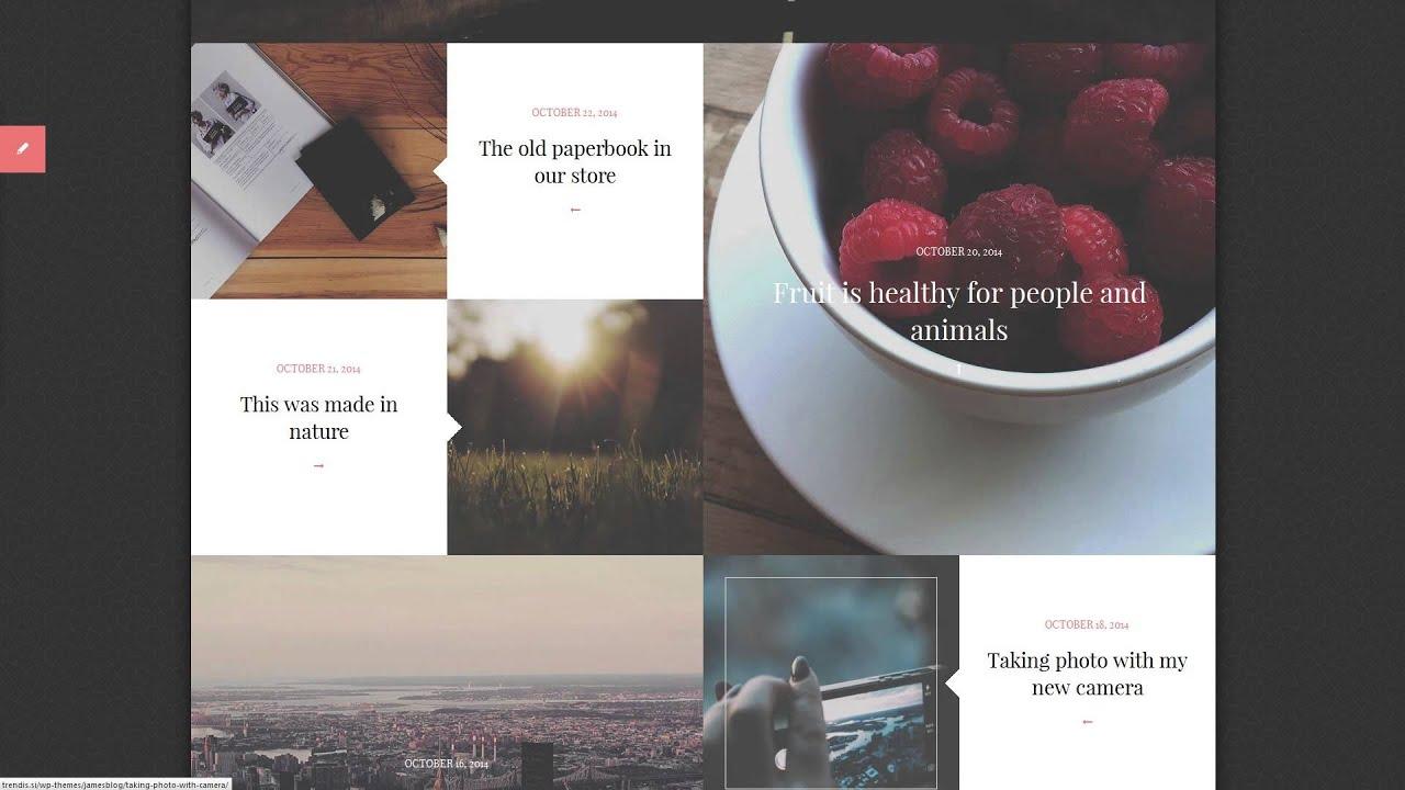 James Blog - Clean, Simple Personal WordPress Blog - YouTube