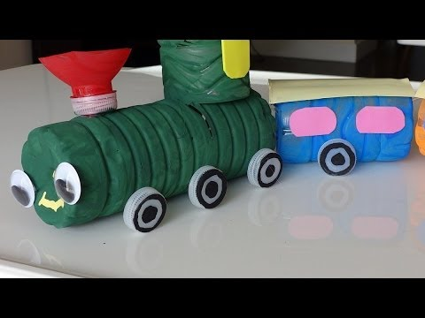 Recycled Crafts Ideas For Kids: DIY Colorful Train From Plastic Bottles - Recycled Bottles Crafts