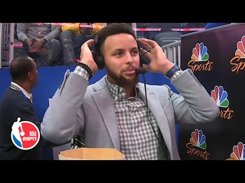 Steph Curry tries out his skills as sideline reporter | 2019-20 NBA Highlights