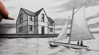 How to Draw a House in 2-Point Perspective: Narrated: Draw a Sailing Boat