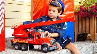 Big Toy Trucks Surprise Unboxing by Police - Bruder Garbage Trucks, Fire Engine, and Crane