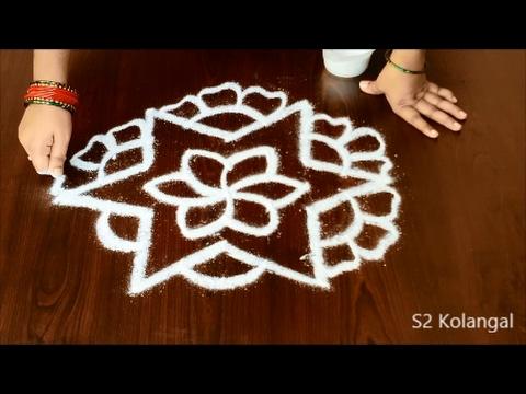 Easy Rangoli Designs With 7 To 4 Interlaced Dots Easy Kolam