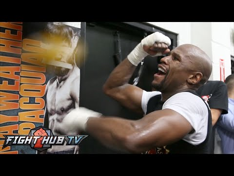 Floyd Mayweather vs. Manny Pacquiao full video- Mayweather's FULL MEDIA WORKOUT