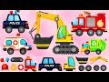 Trucks Puzzle for Children - Police Car, Fire Truck, Excavator   Build and Play