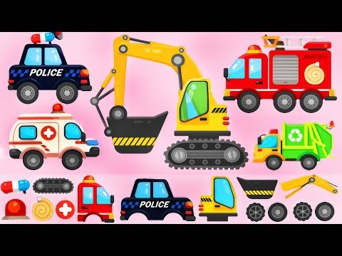 Trucks Puzzle For Children - Police Car, Fire Truck, Excavator | Build And Play