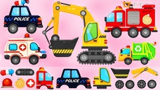 Trucks Puzzle for Children  Police Car Fire Truck Excavator  Build and Play