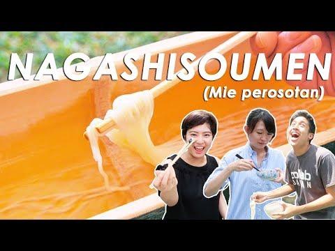 CUMA DI JEPANG! MAKAN MIE DARI PEROSOTAN! (Nagashisoumen)